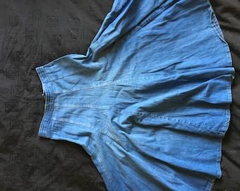 Vintage indigo denim medium length skirt
