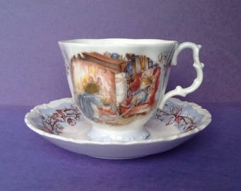Royal Doulton Brambly Hedge Winter Teacup and Saucer, Four Seasons Series England, Jill Barklem 1983 Teacup and Saucer, Mouse Teacup Tea Par