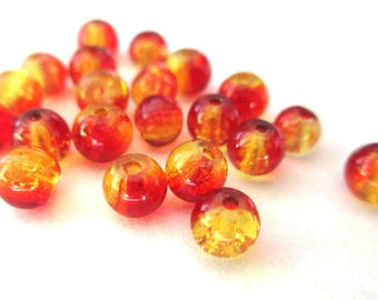 20 two-tone red and yellow glass beads Crackle 4mm (D-32)