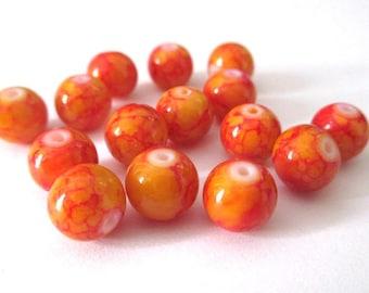 10 orange speckled red glass beads 8mm (B-10)