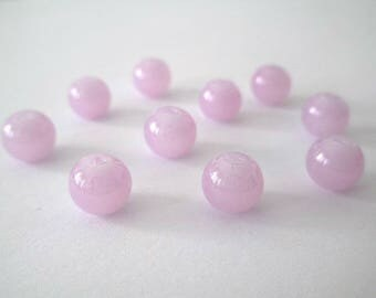 10 lilac imitation jade glass 8mm beads
