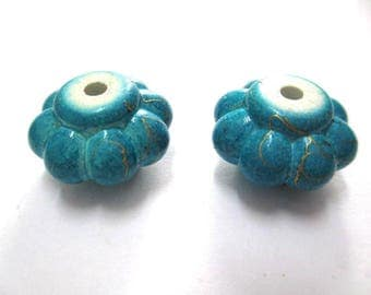 2 beads blue acrylic flower wire gold plated 20 mm x 12 mm