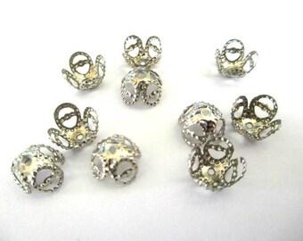 50 bead caps 8mm silver color filigree