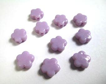 10 beads purple acrylic star 9 x 9 x 4 mm (O-30)