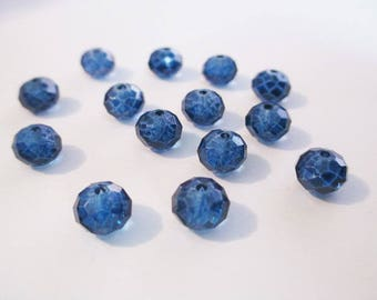 Blue faceted glass 8mm 10 beads