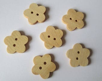 6 21mm with 2 holes Brown flower pattern wooden buttons
