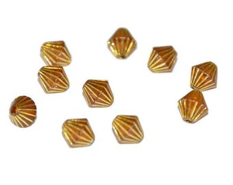 10 Golden striped Brown acrylic bicone 8 x 8 mm beads