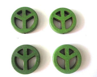 4 beads peace and love howlite Green 20mm