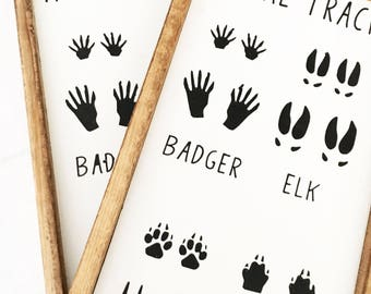 Animal Tracks Sign, Hunting Sign, Nursery Decor, Home Decor, Rustic Sign, Country Sign, Baby Boy Decor