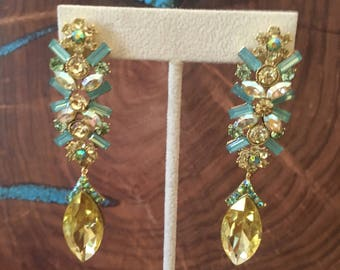 Yellow dangle earrings, yellow and opal rhinestone earrings, yellow pageant earrings, prom crystal earrings