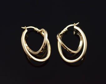 27.8mm Tiered Twist Squared Hoop Earrings Gold