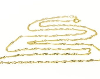"""14k 1.6mm Curb Chain Rolling Link Necklace Gold 24"""""""