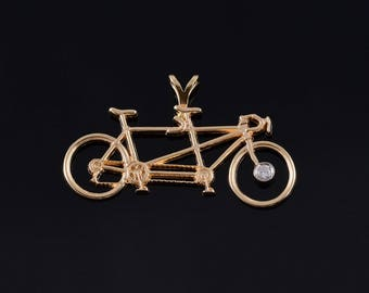 14k Diamond Accented Tandum Bicycle Bike Pendant Gold