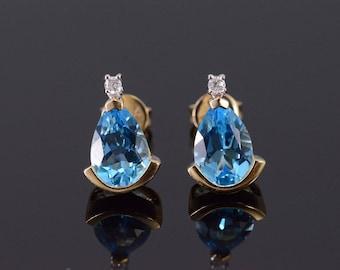 14k Blue Topaz Pear Cut Diamond Accented Earrings Gold