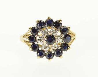 14k Sapphire Diamond Round Halo Tiered Fancy Ring Gold