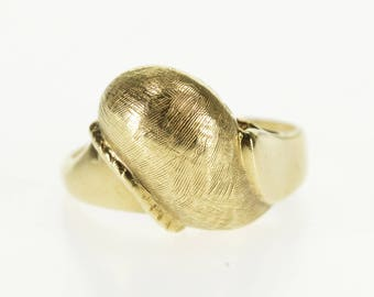 10k Domed Rounded Crosshatch Textured Freeform Ring Gold