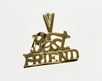 14k Best Friend Word Cut Out Friendship Pendant Gold