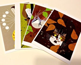 Charley Harper, Assortment of 4 Cattitude Blank Cards, Great Gift, GIft for Women, Gift for Men, Note Cards, Holiday Gift