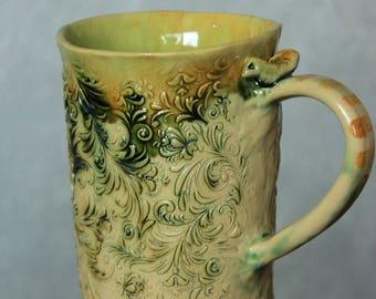 big green mug with texture beige green mug large mug handmade pottery mug rustic mug textured