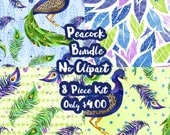 Peacock Mystery Bundle 8 Sheets Planner Sticker-Erin Condren Sticker-Happy Planner Stickers-Floral Stickers