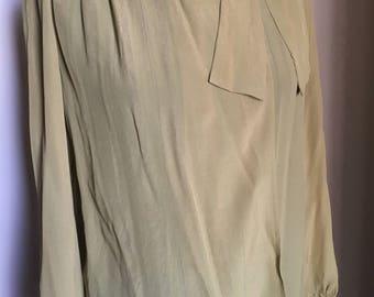 Vintage 70 's olive green silk shirt, Miss Harlow