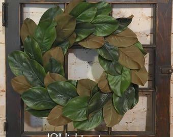 Magnolia Wreath, Farmhouse Wreath, Fixer upper decor,