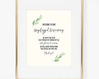 Personalized Printable Greenery Unplugged Poster