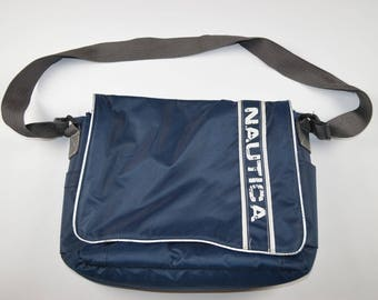 90s NAUTICA Spell Out Outdoor Cross Body Messenger Bag Navy Blue, Vintage Nautica Bag, Vintage Nautica, Nautica Spell Out Bag, Vintage Bag