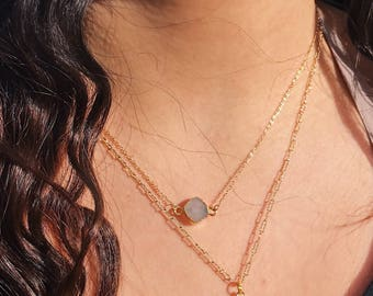 Small Druzy Crystal Gold Necklace