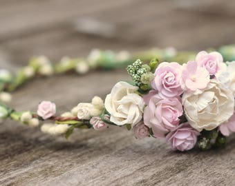 Blush and Ivory Floral Hair Wreath - Wedding Flower Crown Ivory - Wedding Hair Crown - Bridal Hair - Wedding Headpiece Woodland - Olive leaf