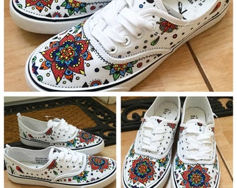 Hand decorated coloured patterned canvas converse shoes