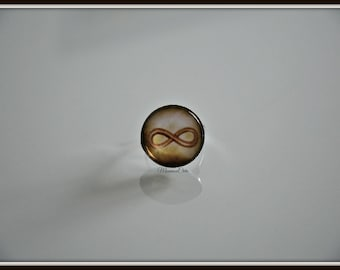 Brown infinity, silver ring