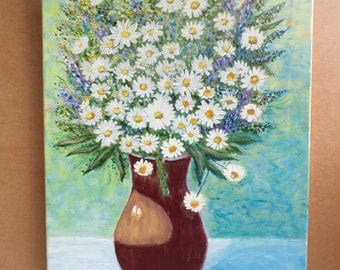 modern daisies in a vase original acrylic painting wall decor from latvia art