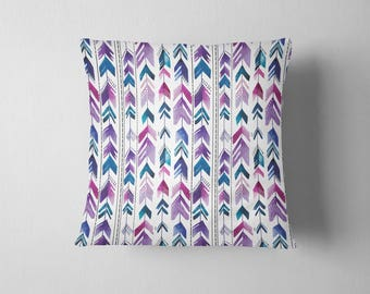 Watercolor Arrows - Purple throw pillow