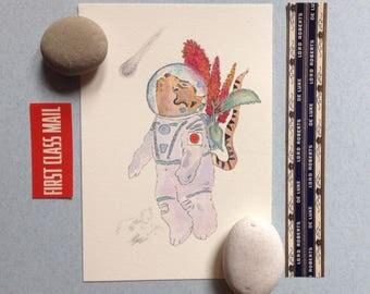 Space cat, original illustrations, kawaii japan cat, cat in space suit, wall art, kitten art, kids bedroom artwork, cosmic space cat