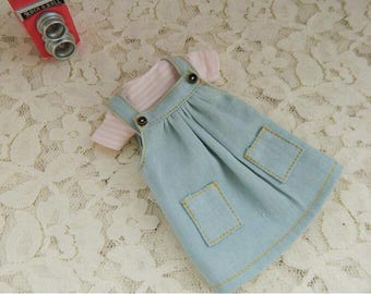 New Summer Overalls Jean Skirt with T-shirt Set for Blythe /Azone/Licca or Similar Doll