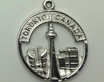 Sterling Silver Charm Toronto CN Tower  Skyline Open Work Disk Charm Ontario  Province Canada Canadian Province Souvenir Travel Memorabilia