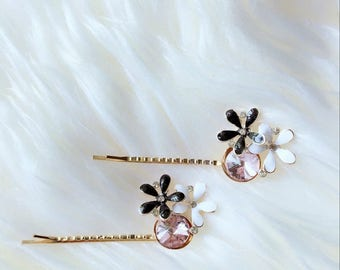 set of two golden crystal flower hair clips for women,young girls,pair flower hair clips, gift for women,flower hair decoration,crystal hair