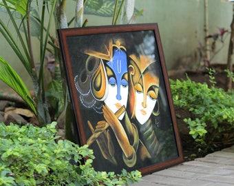 Radha Krishna Acrylic Painting, Indian Contemporary art, Hindu God art, canvas painting, Modern Art on canvas , Home Decor