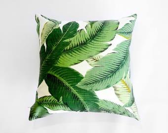 Outdoor Pillow Cover -  Swaying Palms - Banana Leaf Pillow Cover - Green Pillow Cover - Outdoor Cushion Cover - Hawaiian Decor
