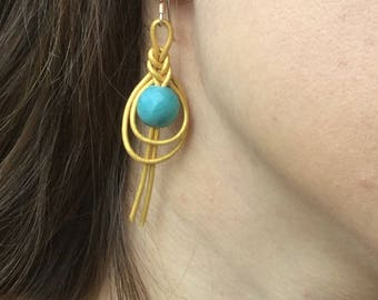 Faceted Amazonite Gemstone and Gold Faux Leather Braided Drop Earrings