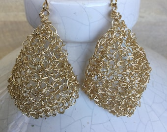 "Gold Wire Crochet Teardrop  Earrings ""Petal"""