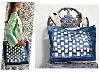 Handmade Recycled Denim Tote Beach bag Shopping bag Upcycled Denim Patchwork bag Denim bag Travel Tote Ecological bag Overnight Bag Gym Bag