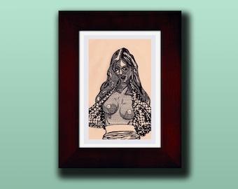 """Brynne"" Erotic Striptease Drawing [4x6"" in 7x9"" frame]"