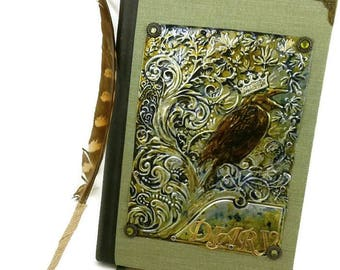 Green Raven Metal Journal, Distressed Metal Journal -built in Bookmark-Lined pages,Diary/Notebook, gift for writers, writing journal, crown