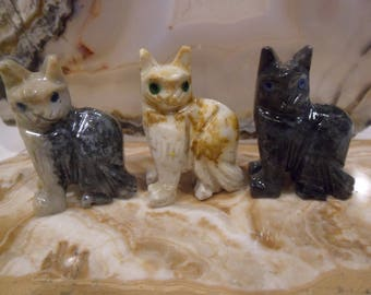 Small Cat Soapstone Carving, Figurine