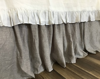 Chambray Graphite Grey Bed Skirt with Gathered Ruffle, Natural Linen