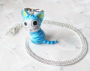 Necklace * blue cat *, figure manga necklace kitten, child, child's toy