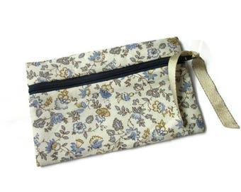coin purse, pouch, phone, makeup, romantic flowers blue dots