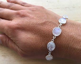 Moonstone sterling silver bracelet, Rainbow moonstone bracelet, Chain moonstone bracelet